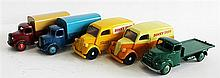 FIVE DINKY TOYS TRUCKS, INCLUDING 'AUSTIN 30S' AND 'FORDSON'. (5)