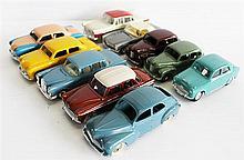 NINE DINKY TOYS CARS, INCLUDING 'FORD SEDAN 170', AND 'SIMCA-ARONDE 544', AND A CORGI 'AUSTIN CAMBRIDGE'. (10)