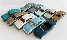 TEN DINKY TOYS CARS, INCLUDING 'FORD TAUNUS 559', and 'FORD CORTINA 159' (RIVITS MISSING ON MERC (186). (10)