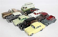 TEN MODEL CARS, INCLUDING CORGI 'MORRIS MINOR' AND VANGUARDS 'FORD 100E'. (10)
