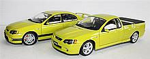 THREE CLASSIC CARLECTABLES, 'FORD UTE XR8' AND TWO 'FORD SEDAN GT' (ONE SMALL). (3)