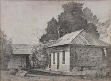 LLOYD REES, ''House'', pencil on paper, signed lower right and dated 1933, 15.5 x 20.5cm.
