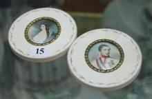 A PAIR OF MINIATURE PORTRAITS IN OVAL IVORY FRAMES,  Depicting Prince Rudolf and Princess Stephanie. Height 9.7cm.