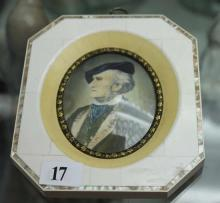 A MINIATURE PORTRAIT IN IVORY AND MOTHER-OF-PEARL FRAME, depicting a gentleman. Signed lower right. Height 14cm.