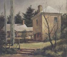 FREDERICK GOSS, ''The Magistrate''s Cottage & Coach House, Berrima'', oil on board, signed lower right and titled at back, 29 x 33.5cm.