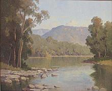 ERIK LANGKER (Australia, 1898-1982), ''Morning at the River, Hawkesbury'', oil on board, signed lower right, 44.5 x 54.5cm.