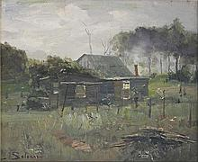 LANCE SOLOMON (Australia, 1913-89), ''Late in the Day'', oil on board, signed lower left, 23.5 x 28cm.