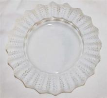 A LALIQUE CRYSTAL ''JAMAICA'' ASHTRAY, frosted leaf rim, signed ''Lalique France'', design circa 1928. Diameter 14cm.