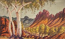 EWALD NAMATJIRA (Australia (Aboriginal), 1930-84), ''Central Australian Landscape with Ghost Gum'', watercolour on paper, signed lower.