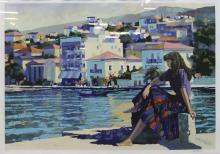 HOWARD BEHRENS, ''Grecian Harbour'', Serigraph 64/250, signed lower right, 127 x 102cm