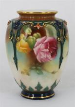 A ROYAL WORCESTER VASE, of ovoid form, painted with roses, signed M.Blake, date code 1896 and shape number H169. (no lid). Height 12cm.
