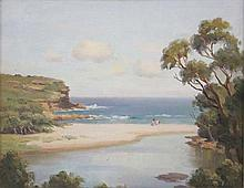 ERIK LANGKER (Australia 1898-1982), ''Beach'', oil on board, signed lower right, 27.5 x 35cm.