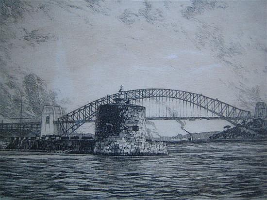 ERNEST WARNER (1879-1968) 'SYDNEY HARBOUR' Etching. Titled lower left. Signed lower right G.Marler. 10.5 x 15cm.