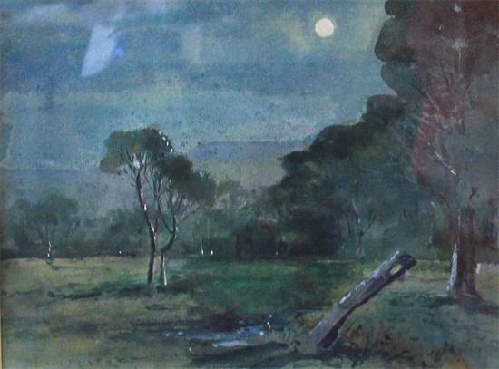 JOHN WILLIAM TRISTRAM (1872-1938) 'MOONLIGHT COUNTRY' Watercolour. Signed lower left. 19 x 24cm.