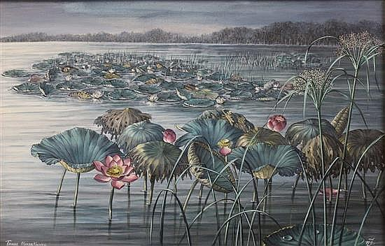 TAWEE NANDAKWANG (1925-1991) 'LILY FIELD' Acrylic on canvas. Signed lower left. 79 x 112cm.