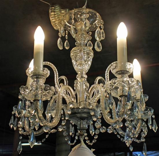 A five branch ornate victorian chandelier of glass and crys - Chandelier a 5 branches ...