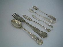 FIVE ITEMS OF CUTLERY, a Victorian silver Queen's Rosette spoon, a Victorian silver butter knife and three silver-plate items. (5).