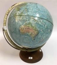 A VINTAGE WORLD GLOBE, excel turning and on wooden base. Circa 1960. Height 40cm.