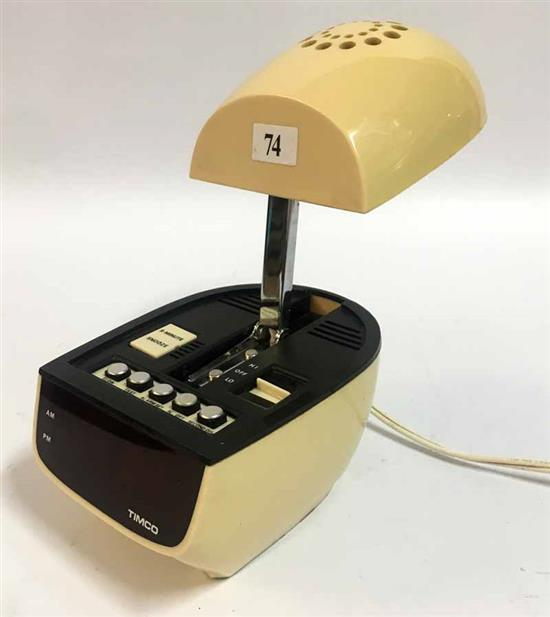 A Timco Retractile Lamp Radio Beige Digital Clock Desk Lamp