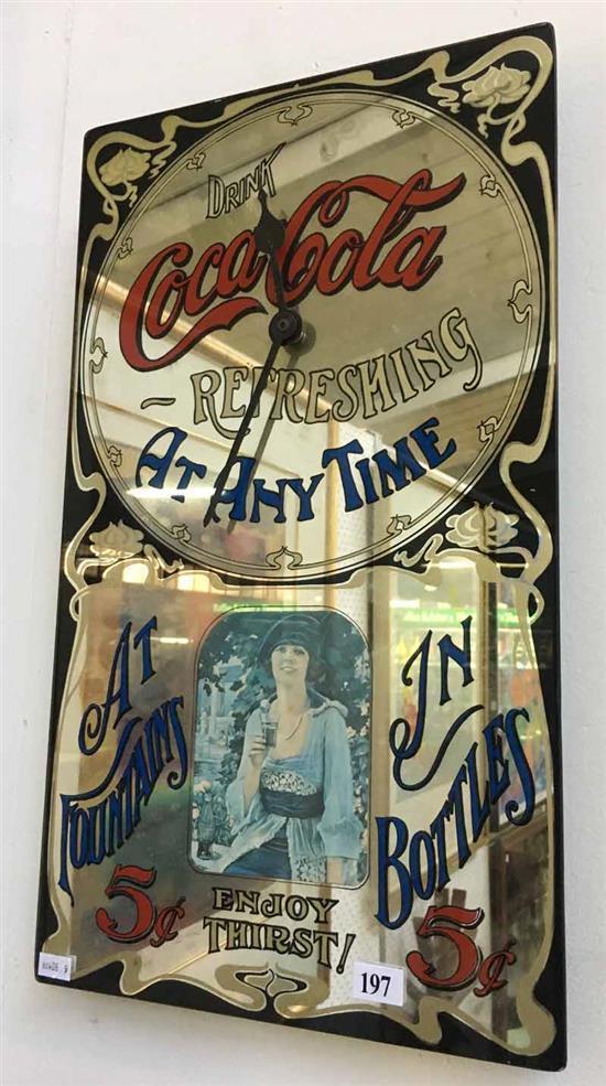 An American Drink Coca Cola Mirror Clock Advertisement