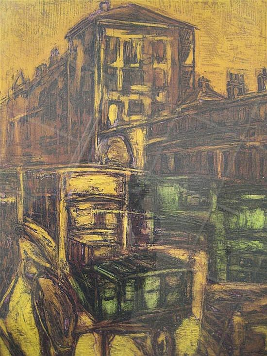 GEOFFREY BRUCE BROWN born 1926 'Market, Covent Gardens' No.1 Colour etching 7/50.