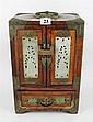 A CHINESE JEWELLERY BOX, brass bound & jade inlaid. ht 28cm.