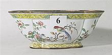 A CHINESE ENAMEL LOBED BOWL, period mark to base. ht. 6.2cm.