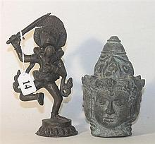 TWO INDIAN BRONZE DEITIES. ht. 12cm & 16cm.
