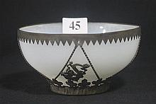 A CHINESE WHITE GLASS BOWL, with fine worked metal overlay. dia. 11cm.