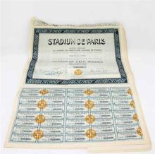 TWENTY FRENCH BEARER SHARES FOR THE STADIUM OF PARIS OF 100 FRANCS, 1934