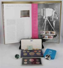 LOT COMPRISING: 2006 Book Australian Stamps (not complete), 1970 New Zealand Royal Visit Proof set coin, 1971 United States Proof se...