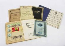 LOT COMPRISING EIGHT VARIOUS GERMAN PAPERS, CIRCA 1907-1958, including Identity Cards from 3rd Reich and stamps.