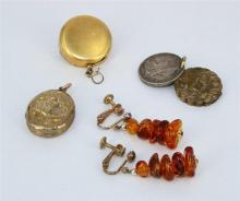 A COLLECTION OF VARIOUS JEWELLERY PIECES, including a pair of Amber earrings, a gold and metal mourning pendant, a mourning pendant...