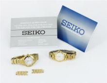 A SEIKO WATCH, model V187, with paperwork. Together with a Bucherer Lady watch. (2)