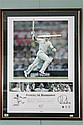 PUSHING THE BOUNDARIES Lithographic presentation featuring Ricky Ponting's century in each innings of his 100th test match against S..