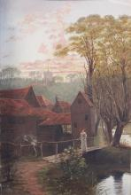 W. E. TINDALL, 'Walking on the bridge', oil on board, signed lower right, 61 x 39.5cm.