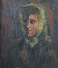 IN THE MANNER OF IVAN AGUELI (1869-1917), 'Portrait of a Woman', oil on board, unsigned, 53.5 x 44cm.