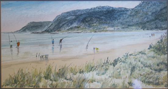 BILL JACKMAN, 'Beach side', grease pencil on paper, signed lower right, 19 x 38cm.