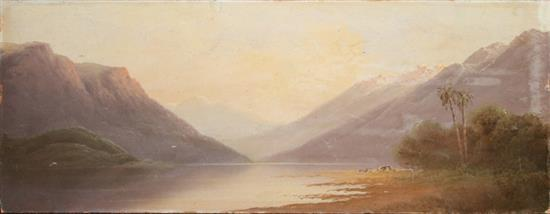 PERCY CAMPBELL (Late 19th century - early 20th century), 'Landscape', two oil on board, one signed lower right, 18.5 x 43cm. Unframed