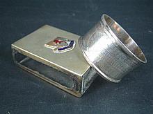 AN AUSTRALIAN SILVER SERVIETTE RING, Edwin Harrop, AND A SILVER-PLATE MATCH-BOX SLEEVE, souvenir of Tasmania. (2)