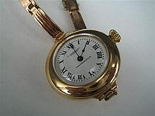 *A LADY'S 9ct GOLD BRACELET WATCH, Waltham movement, gold case and sprung bracelet; retailed by Saunders, Sydney. Weight (all in) 26..