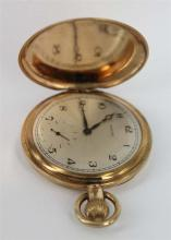 A ROLEX FULL HUNTER POCKET WATCH, 1920's, gold-filled, enamel dial, inscribed 'Presented to Ted Cross by his fellow employees of the.