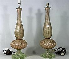 A PAIR OF MURANO LAMP BASES, Height 63cm (af).