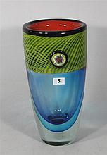 A MULTICOLORED MURANO ART GLASS VASE, with applied millefiori decoration. Height 29cm.