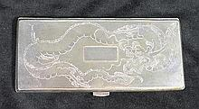 A CHINESE SILVER CIGARETTE CASE, engraved with writhing Dragon. 18 x 8cm.