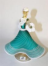 A MURANO ART GLASS LADY FIGURE, aqua and white, with adventurine, ht 24cm.
