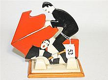 A CLARICE CLIFF 'AGE OF JAZZ' FIGURE, 'musicians', ht 13.5cm.