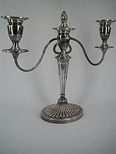 A PAIR OF SILVER-PLATE CANDELABRA in Adam style, each with reeded branches issuing from a tapered column; bead rims and batwing flut...
