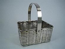 A SILVER-PLATE SWING-HANDLED SWEETMEAT BASKET, square, basket-weave; F.B.Rogers. Width 13cm.