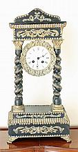 A 19th CENTURY FRENCH PORTICO CLOCK, ebonized, with gilt-metal mounts; Roman numeral white enamel dial, two-train pendulum driven mo...